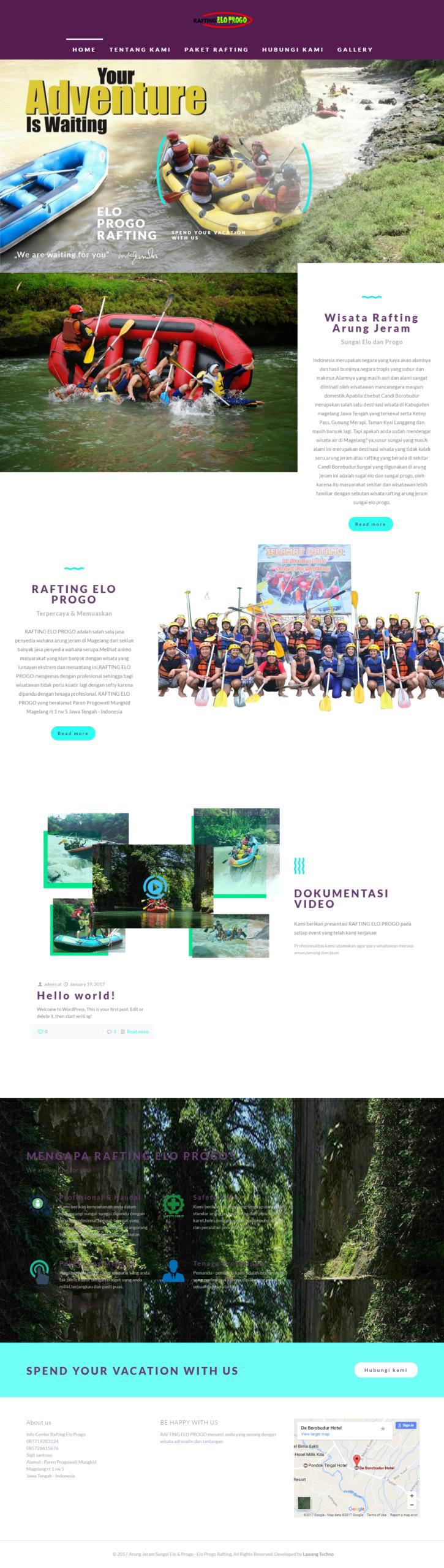 jasa pembuatan website paket rafting arung jeram cave tubing pindul dll