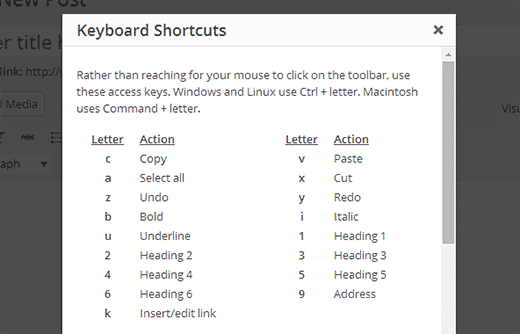 wordpress-keyboard-shortcuts