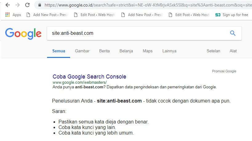 ciri nama domain yang sudah dibanned google 2