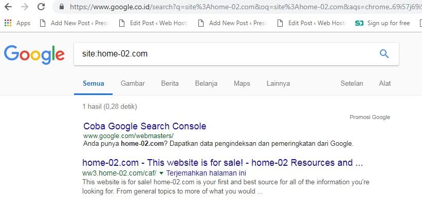ciri nama domain yang sudah dibanned google