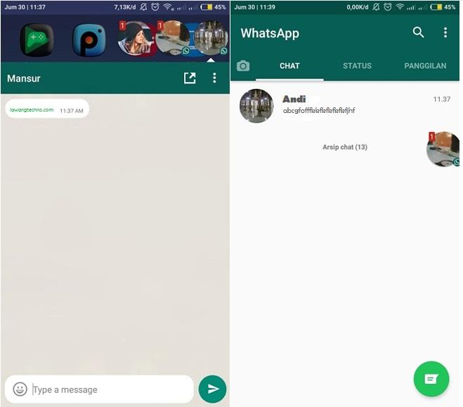 cara membuat buuble chat chat melayang balon chat di whatsapp