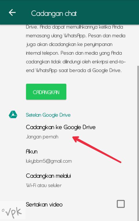 cara mencadangkan chat Whatsapp di Google drive