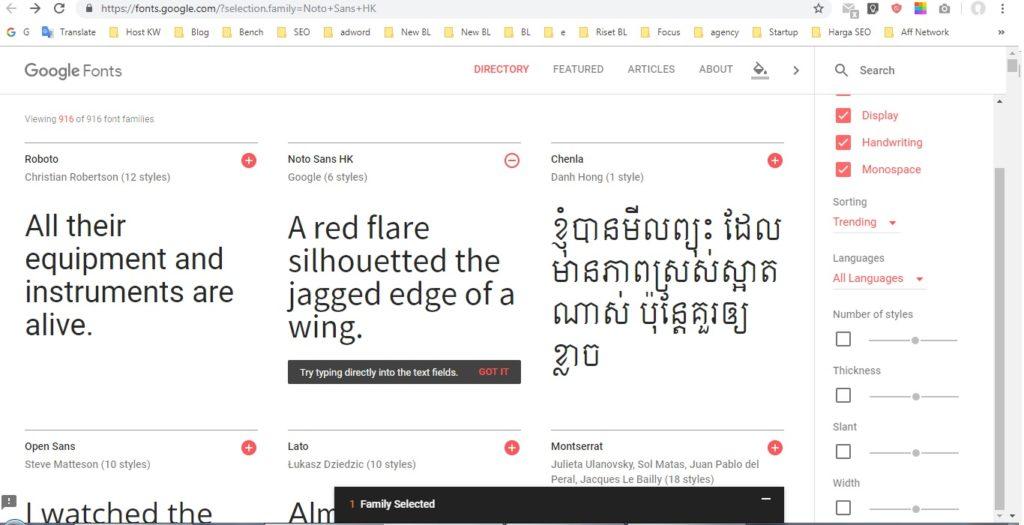 cara menggunakan Google fonts 1