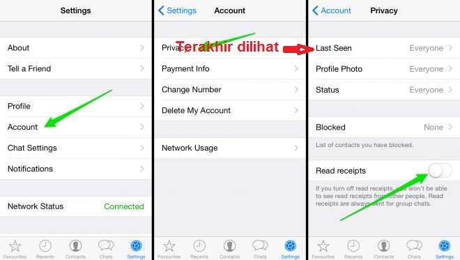 cara menghilangkan waktu terakhir dilihat di whatsapp