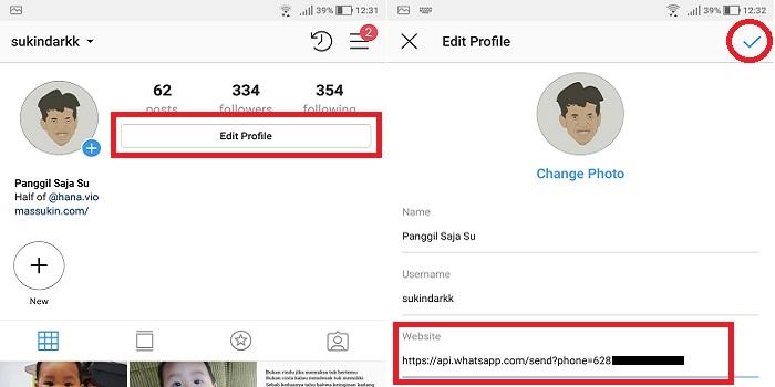 cara membuat link WA Whatsapp di IG Instagram