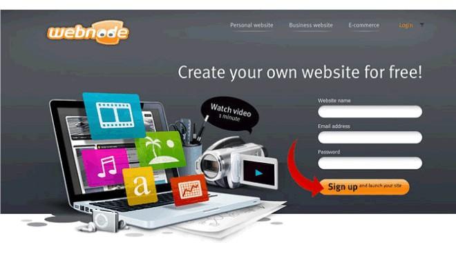 aplikasi website Webnode