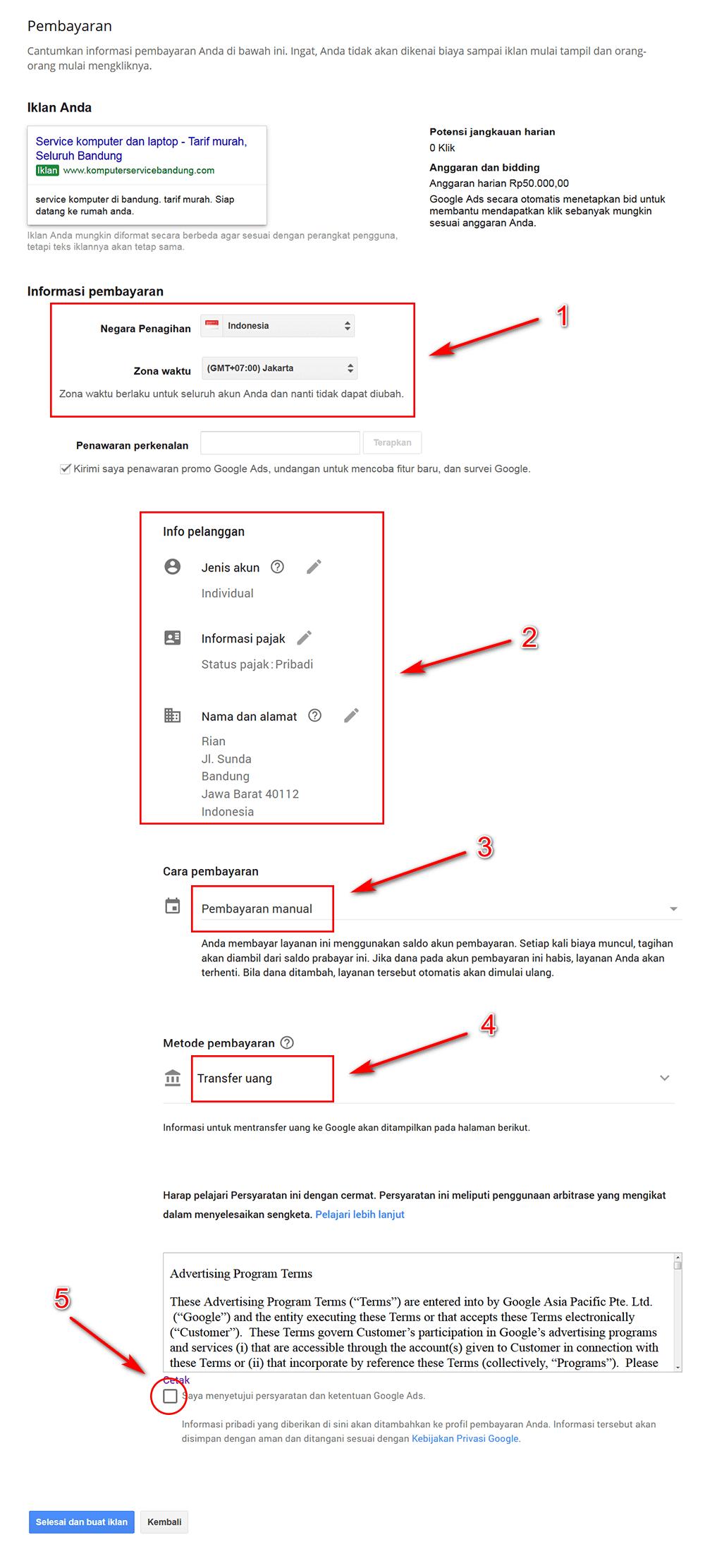 cara beriklan google ads -Detail-Penagihan