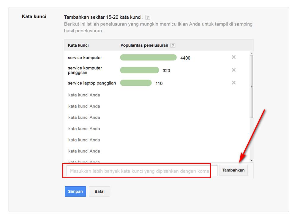 cara pasang iklan Google - buat-kata-kunci