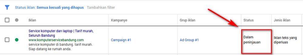 cara pasang iklan google - status iklan disetujui atau belum