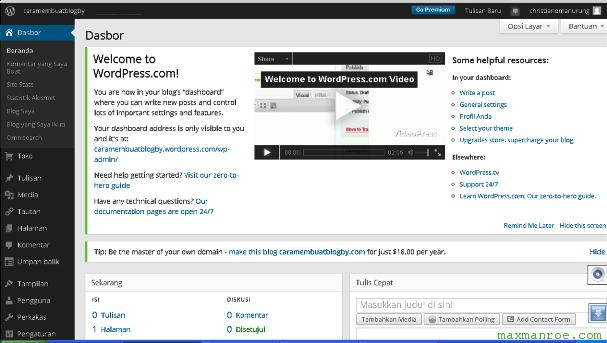 cara membuat blog di wordpress untuk pemula 2