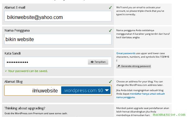 cara membuat blog di wordpress untuk pemula