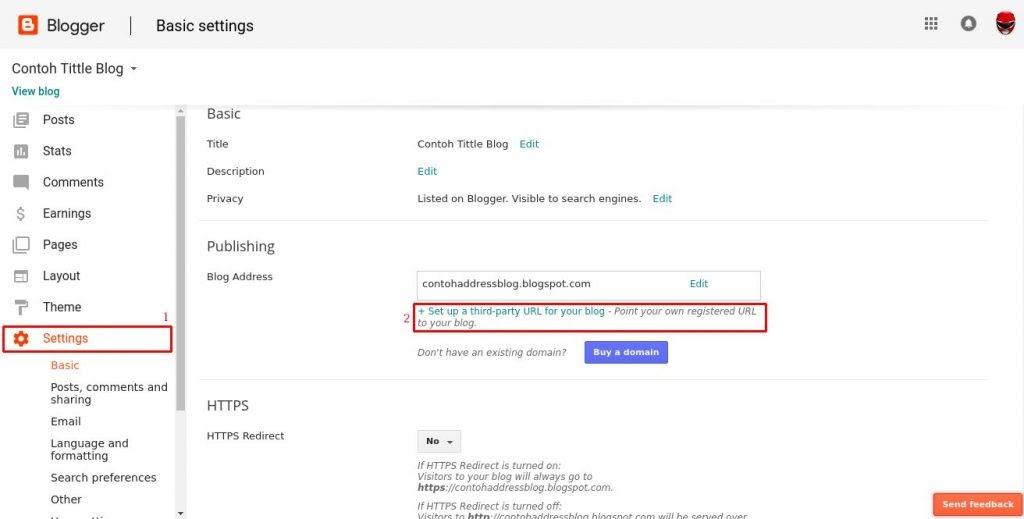 cara menyambung domain .com ke blogger blogspot