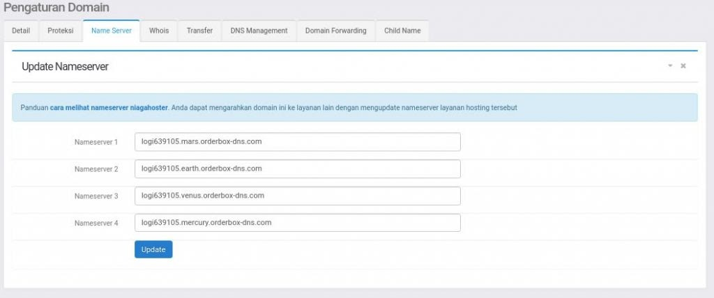 cara update nama domain nameserver
