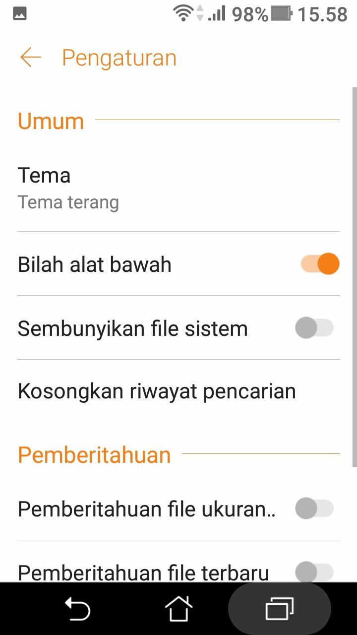 cara melihat file sampah di android